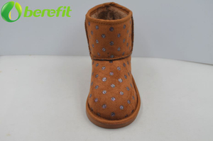 Womens Suede Fur Polka Dots Snow Boots