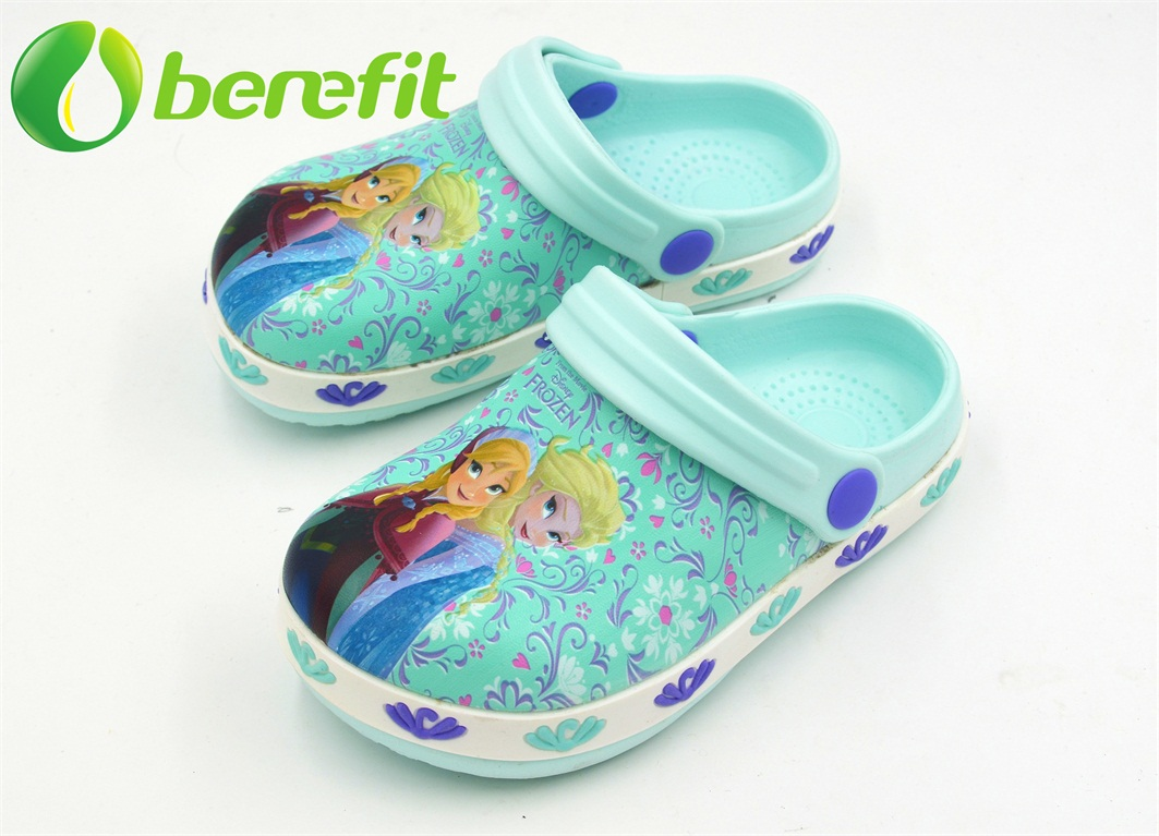 Kids EVA Clogs with Upper Digital Printing with FROZEN Design And The PVC Side Line