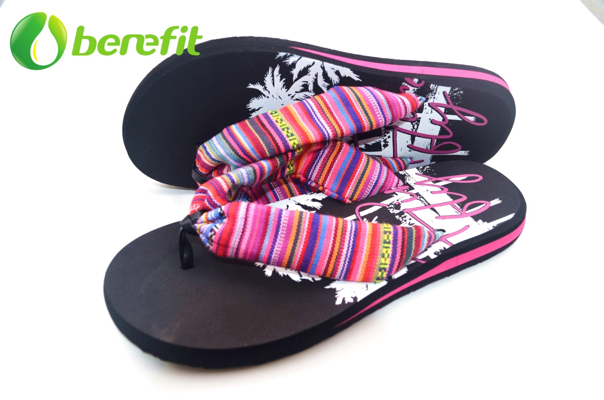 Ladies Black Ethnic Fabric Upper Sandal for Wide Feet