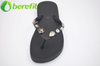 Black Summer Artificial Diomond Decoration Women Beach Flip Flops