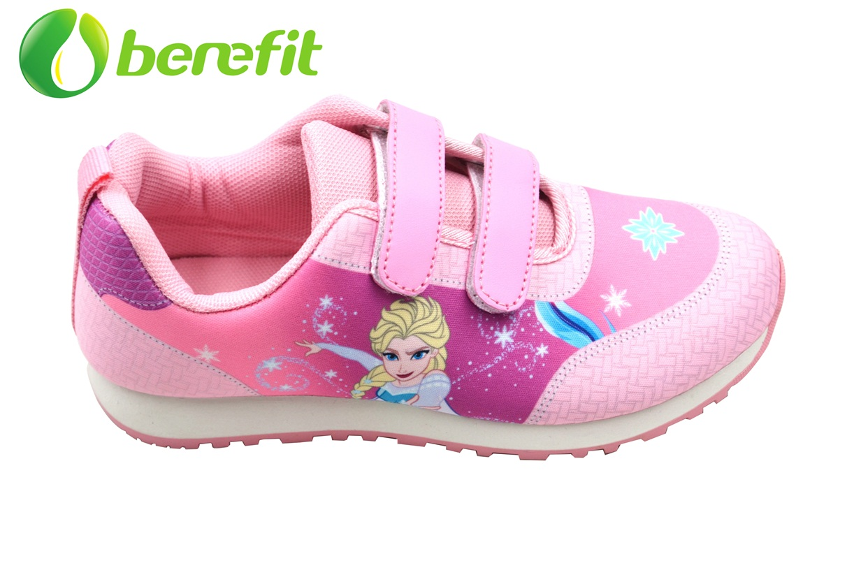 Casual Shoes for Kids with PU and Sumblimation Upper And Double Color PVC Sole for Running