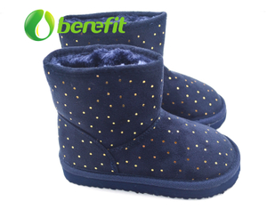 Kids Snow Boots with Ankle High And Lint And Fur Upper And EVA Sole