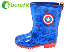 Ankle Boots And Kids Rain Boots with Fashion Captain America Design And Kids Water Proof Style